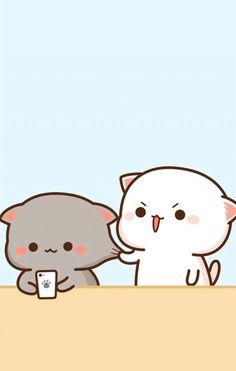 Cute Couple Cartoon, Cute Cartoon Pictures, Cute Love Cartoons, Cute Bear Drawings, Cute Kawaii Drawings, Chibi Cat, Cute Chibi, Cute Cat Wallpaper, Kawaii Wallpaper