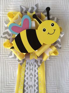 Bee Baby Shower Gender Reveal Corsage Yellow Gray Chevron What Will Baby Bee  on Etsy