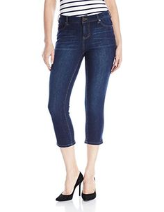 Liverpool Jeans Company Women's Milly Hugger Contour 4-Way Stretch Denim Capri, Corvus Dark, 10 -- Be sure to check out this awesome product.