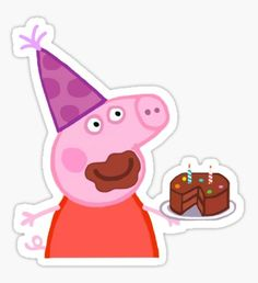 'Peppa Pig Cake Sticker' Sticker by Blake Aboueljoud Millions of unique designs by independent artists. Find your thing. Stickers Cool, Preppy Stickers, Meme Stickers, Tumblr Stickers, Peppa Pig Stickers, Peppa Pig Wallpaper, Peppa Pig Memes, Aniversario Peppa Pig, Pig Birthday