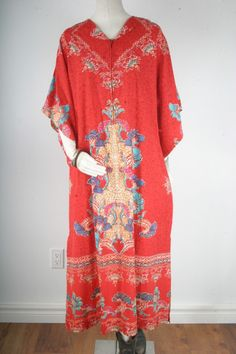 Caftan long Dress women maxi Dashiki bell sleeves coral red hippie ethnic boho bohemian african printed size S M L XL