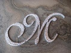 I could use some rhinestone letters for my wall :) M Monogram, Embroidery Monogram, Alphabet Art, Letter Art, Initial Letters, Letters And Numbers, Craft Letters, Button Art, Lettering Design