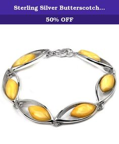 fe73a2e08 Sterling Silver Butterscotch Amber Bracelet Length 7.5 Inches. Most of our  amber found in Baltic