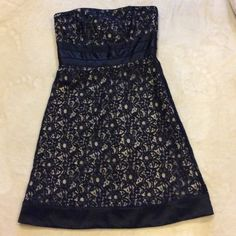 WHBM black lace formal cocktail dress Sexy rear zip black lace and nude undertone formal dress. Great condition worn once and dry cleaned White House Black Market Dresses Strapless