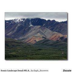 Scenic Landscape Denali NP, Alaska Postcard  #denali, #alaska, #national #park, #nature, #landscape, #scenic, #wilderness, #mountains, #fog, #usa, #america #postcard