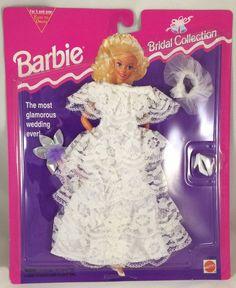 1994 Barbie Fashion Bridal Collection Satin off Shoulder Gown 65292 Mattel for sale online Barbie Bridal, Barbie Wedding Dress, Wedding Doll, Wedding Dresses, Barbie 90s, Vintage Barbie Dolls, Barbie And Ken, Barbie Outfits, Barbie Clothes