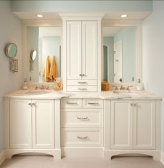 Double Sink Bathroom Vanity With Tower: Double Vanity With Center Tower – Your Home Design Jack And Jill Bathroom, Double Sink Bathroom, Bathroom Sink Vanity, Bathroom Renos, White Bathroom, Small Bathroom, Bathroom Cabinets, Bathroom Storage, Bathroom Ideas