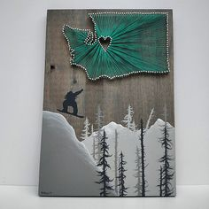 State String Art Featuring a Snowboarder or by TheWoollyBugger