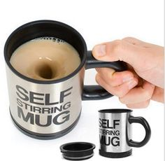 Fashion Stainless Steel Self Stirring Mug. - Black Silver (2 x AAA) Batteries NO included/$17.99