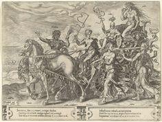 Cornelis Cort   Triomfwagen met Afgunst (Invidia), Cornelis Cort, Theodoor Galle, 1564 - 1633   De personificatie van afgunst zit op een triomfwagen die rijdt langs de kust. Afgunst heeft een uitgemergeld lichaam en eet van haar hart. De triomfwagen wordt getrokken door twee paarden en bestuurd door een jonge man. Andere ondeugden lopen met de wagen mee. Prent uit een serie van negen prenten met triomfwagens uit de Antwerpse Besnijdenis-ommegang van 1561. De personificaties op de wagens…
