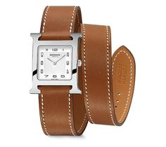 Heure H Hermes steel watch, 26 x 26mm, white dial, quartz movement, long double tour natural Barenia calfskin leather strap