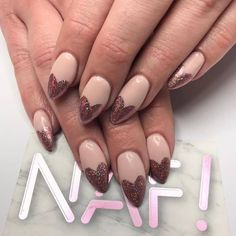 """1,078 Likes, 25 Comments - NAF! Glasgow (@nafsalon) on Instagram: """"Guuurl✨Acrylic extension with glittery pink heart tips by #NafAnnaTo ensure your nails stay…"""""""