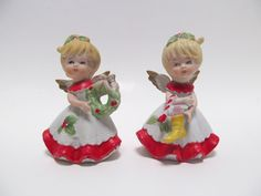 Vintage Homco Christmas Angel Figurines / Homco Figurines 5402 / Home Interior Bisque Figurines / Collectible Figurines / Holiday Decor by HickoryTreeAntiques on Etsy