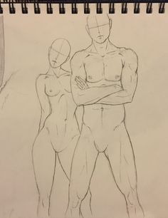 A drawing of faceless, generic human beings and idealized proportions.