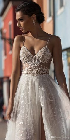 2018 Gali Karten Beach Wedding Dresses Side Split Spaghetti Illusion Sexy Boho Wedding Gowns Sweep Train Pearls Backless Bohemian Bride