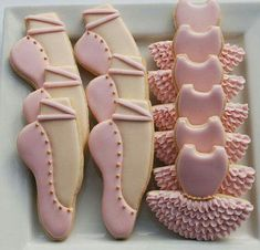 Pink and Gold Ballerina / Ballet Cookies - One Dozen Decorated Sugar Cookies -Tutus and Ballet Slippers Ballerina Party Decorations, Ballerina Birthday Parties, Girl Birthday, Ballet Birthday Cakes, Birthday Ideas, Ballerina Cookies, Ballerina Slippers, Ballet Tutu, Ballet Cakes