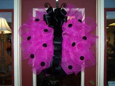 Ladybug Hot Pink and Black Polka Dot Large 28-inch Poly Deco Mesh and Ribbon Wreath Spring and Summer Door Décor