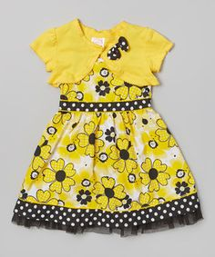 Love this Yellow Floral Pettidress & Shrug - Infant, Toddler & Girls by Longstreet on #zulily! #zulilyfinds