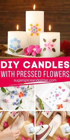 A simple DIY for a gorgeous homemade gift using pressed flowers, this DIY Candle is the perfect Mother's Day gift or special way to display pressed flowers from a vacation. Craft Projects For Adults, Diy Craft Projects, Crafts For Kids, Kids Diy, Craft Tutorials, Easy Diy Crafts, Diy Arts And Crafts, Creative Crafts, Simple Crafts