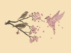 the sparrows look on at a bird created out of cherry blossoms lovely pink with an vintage background
