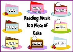 Reading Music is a Piece of Cake bulletin board