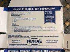 Classic Philadelphia Cheesecake recipe on Philadelphia cream cheese box