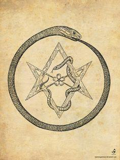 ouroboros alquimia - ouroboros and unicursal hexagram Alchemy Symbols, Alchemy Art, Chakra Symbols, Esoteric Art, Esoteric Tattoo, Creation Art, Aleister Crowley, Arte Obscura, Occult Art