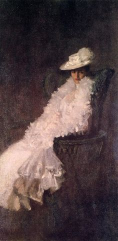 ▴ Artistic Accessories ▴ clothes, jewelry, hats in art - My Daughter Dieudonnee by William Merritt Chase