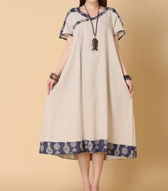 Linen colore / sciolto abito estivo blu scuro donne sciolto