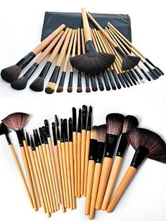 24 pcs Makeup Brush Kit with Black Case<<<< I NEED THIS