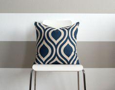 "Navy Geometric Pillow Cover - 20"" x 20"""