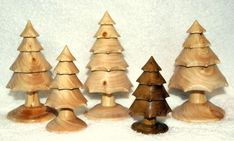 wood turning christmas ornaments | Woodturning - Christmas Trees hand turned and carved
