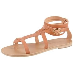 Valia Gabriel Sandy Cay Sandal (405924701) ($100) ❤ liked on Polyvore featuring shoes, sandals, brown, strap sandals, brown sandals, strappy flat sandals, leather strap sandals and brown leather sandals