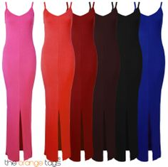 NEW LADIES LONG STRETCH SLIT WOMENS SUMMER MAXI DRESS in Clothes, Shoes & Accessories, Women's Clothing, Dresses | eBay