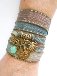 Namaste jewelry Yoga Wrap silk bracelet elephant charm Om jewelry Boho spiritual wrapped bracelet Hamsa hand of Fatima jewelry gift