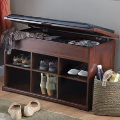 """Features: -Removable cushion: Yes . Material: -Manufactured wood. Finish: -Mahogany. Dimensions: -Depth of storage under cushion is 4"""".. Overall Height - Top to Bottom: -19.75"""". Overall Width -"""