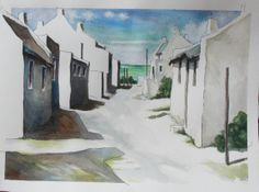 Fishermans' cottages. Full Stop, White Cottage, Painting Techniques, Cottages, Watercolor Art, Cape, History, Art Paintings, Drawings