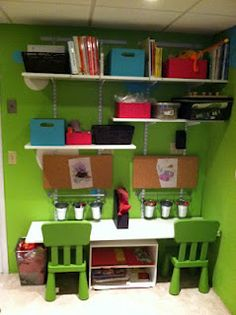 Nice little organizational space  kid sized to display and do crafts and art....