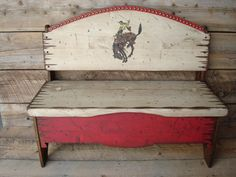 Items similar to Handmade Wood Bench with storage in Raw Wood on Etsy Western Furniture, Rustic Furniture, Painted Furniture, Diy Furniture, Willow Furniture, Cabin Furniture, Refurbished Furniture, Furniture Design, Wooden Storage Bench