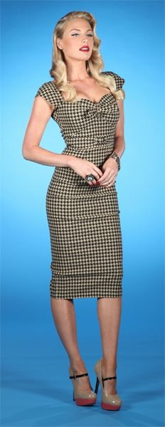 Retro Houndstooth print dress for a touch of Vintage - Love the hair and makeup, too