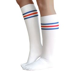 d6b1fe14dc210 White knee high socks with 2 royal blue and 1 red stripes at the top.