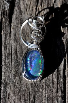 R2 IDAHO Spencer OPAL triplet wire wrapped sterling pendant