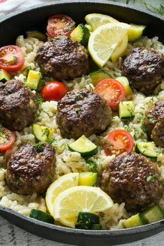 This recipe for one pot greek meatballs with lemon dill rice includes savory greek spiced beef meatballs, creamy arborio rice and vegetables, all cooked together in a single pot! More from my site Greek Meatballs with Tzatziki Sauce One Pot Meals, Meals For One, Easy Meals, Lemon Rice, Lemon Orzo, Spinach Rice, Coconut Rice, Greek Spices, Ground Beef