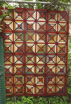 Primitive Folk Art Wall Quilt Pattern:  RIVER TOWN