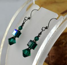EMERALD DEEP GREEN Simply Stacked Swarovski by OklahomaMama