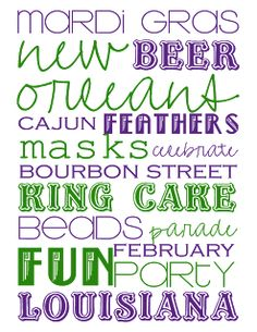 Free Mardi Gras Printables. I'm thinking a party might be in order