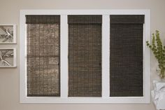 Woven Wood Shades. example of unlined,light filtering and black out linings.