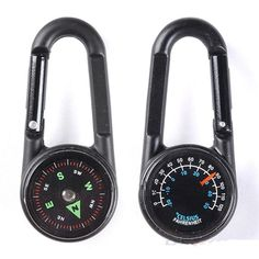 Multifunctional Hiking Carabiner Mini Compass Thermometer Keychain Chic Gadget