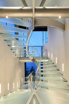 Stunning glass stairwell from The Lake House in Nevada, designed by  Mark Dziewulski Architects