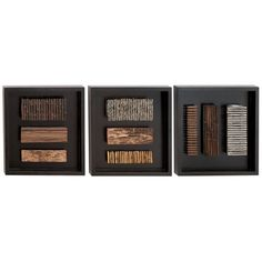 3-piece wall decor set with framed wood detail. Product: Set of 3 wall decorConstruction Material: WoodCo...